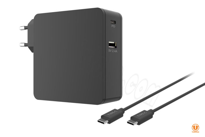 usb-c pd power adapter with 2.4a usb port